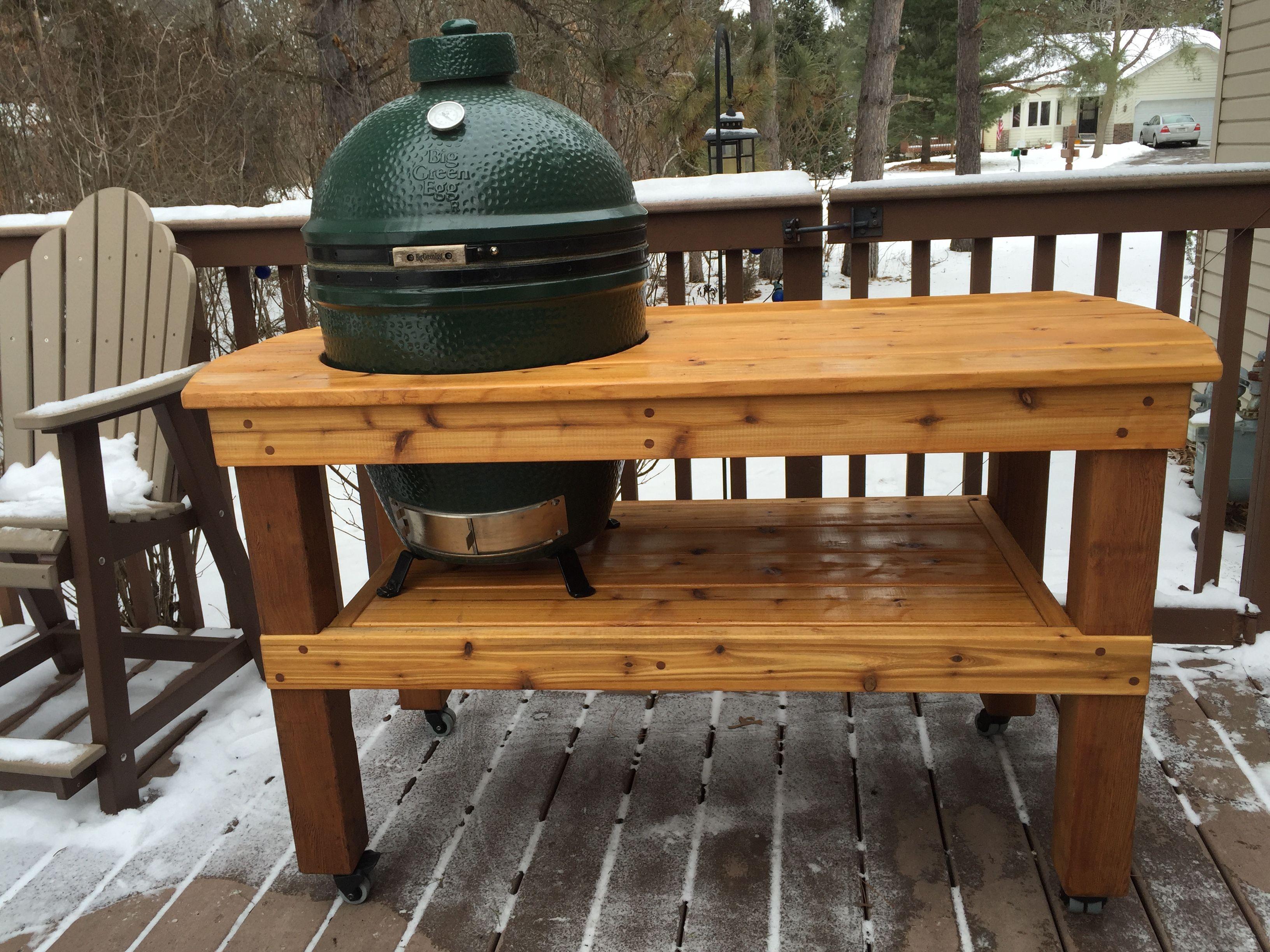 homemade big green egg table