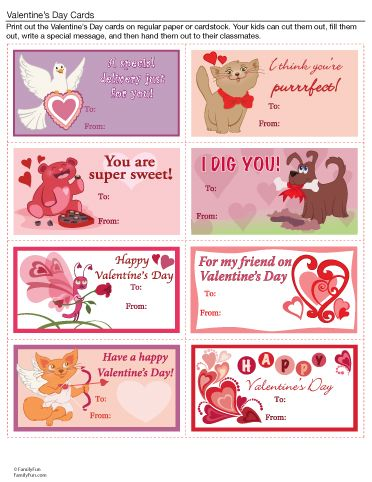 printable valentines day cards printable activity for kids - Valentine Day Cards For Kids