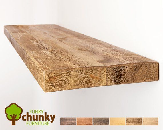 Rustic Floating Shelves Deep Solid Wood Wall Shelf 30cm Deep X