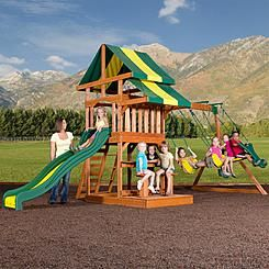 Backyard Discovery Independence Cedar Swing Set Free Delivery Wooden Swing Set Outdoor Swing