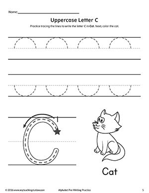 uppercase letter c pre writing practice worksheet fine motor skills tracing writing. Black Bedroom Furniture Sets. Home Design Ideas
