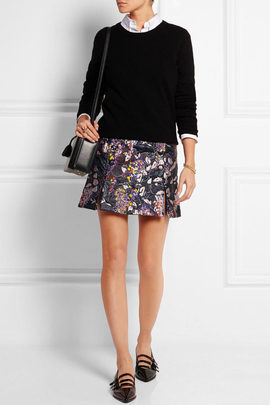 Carven - Floral-jacquard mini skirt