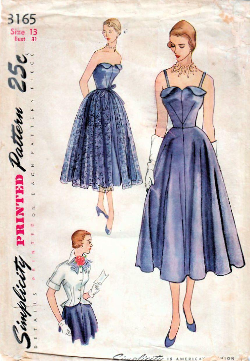 1950s Simplicity 3165 Vintage Sewing Pattern Junior Evening Etsy 1950s Dress Patterns Formal Dress Patterns Strapless Dress Formal [ 1239 x 859 Pixel ]