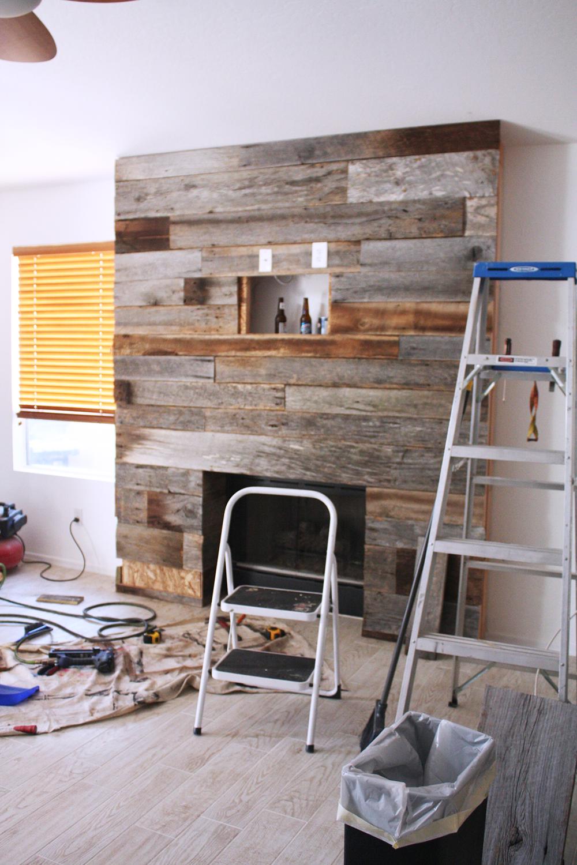 DIY Reclaimed Wood Fireplace - DIY Reclaimed Wood Fireplace Reclaimed Wood Fireplace And Wood