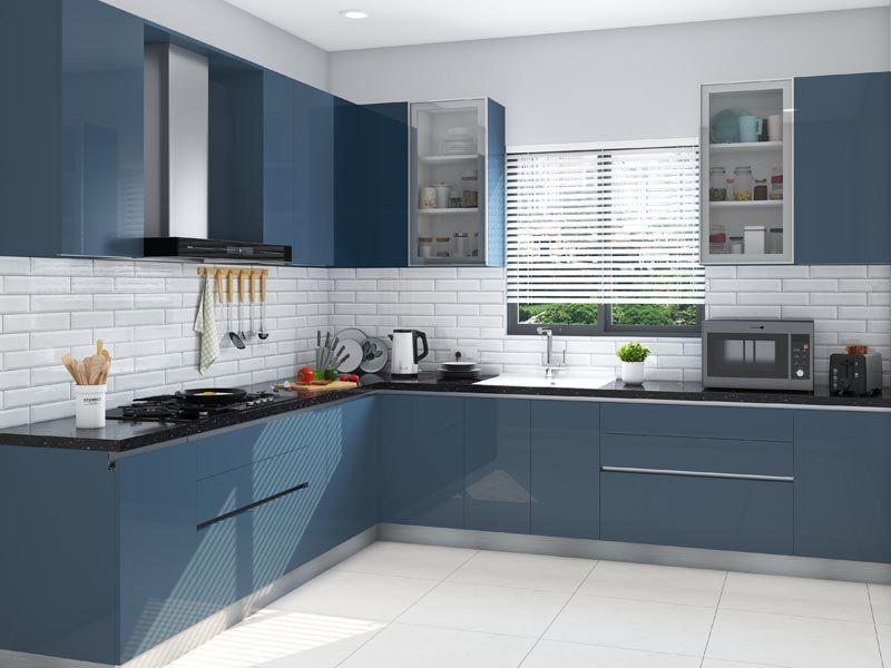 Classic Blue Kitchen India Homelane In 2020 Parallel Kitchen Design Kitchen Design Small Kitchen Room Design