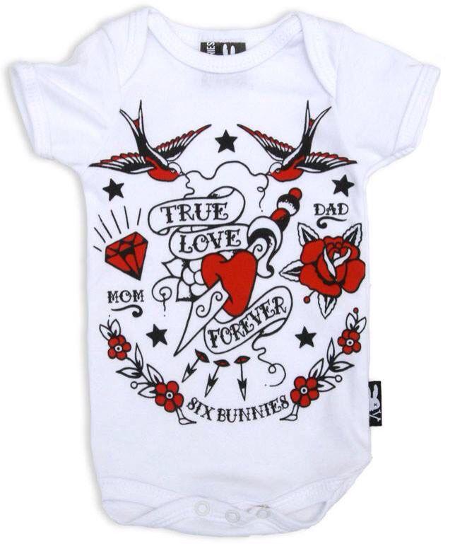 Six Bunnies I love my Dads Tattoo Rockabilly Baby Body Strampler