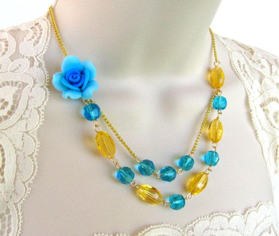 Blue Flower Necklace set   Blue and Yellow by liliwinklerbrides, $27.00