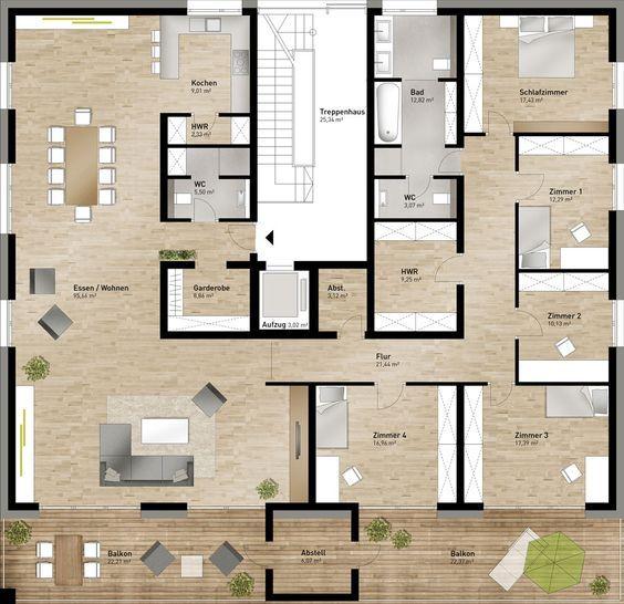 Wohnung_Grundriss ; ( Ein Bad Für 4 Schlafräume, Bei Einer Derart Großen  Wohnung? Unmögliche Planung ; (