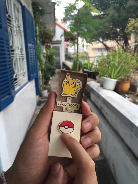 Funny Love Card/ Pokemon Go Card/ Love Gift/ Funny Pokémon matchbox card / Pun Pikachu Card/ Pun Car