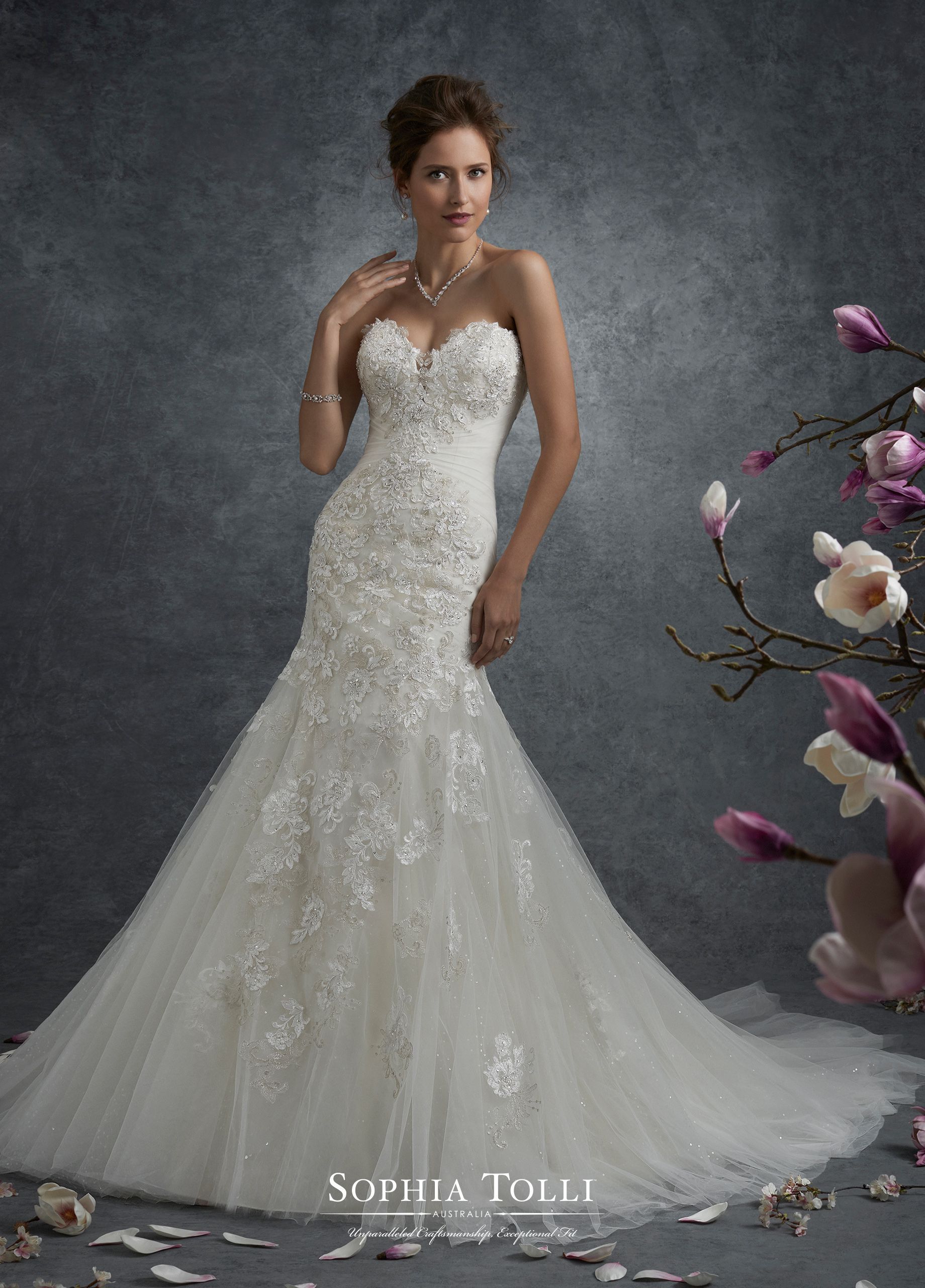 ab10504ee15c Y21763 Andromeda - Strapless misty tulle and allover shimmer tulle with  beaded lace appliqué trumpet gown features a scalloped deep sweetheart  neckline with ...