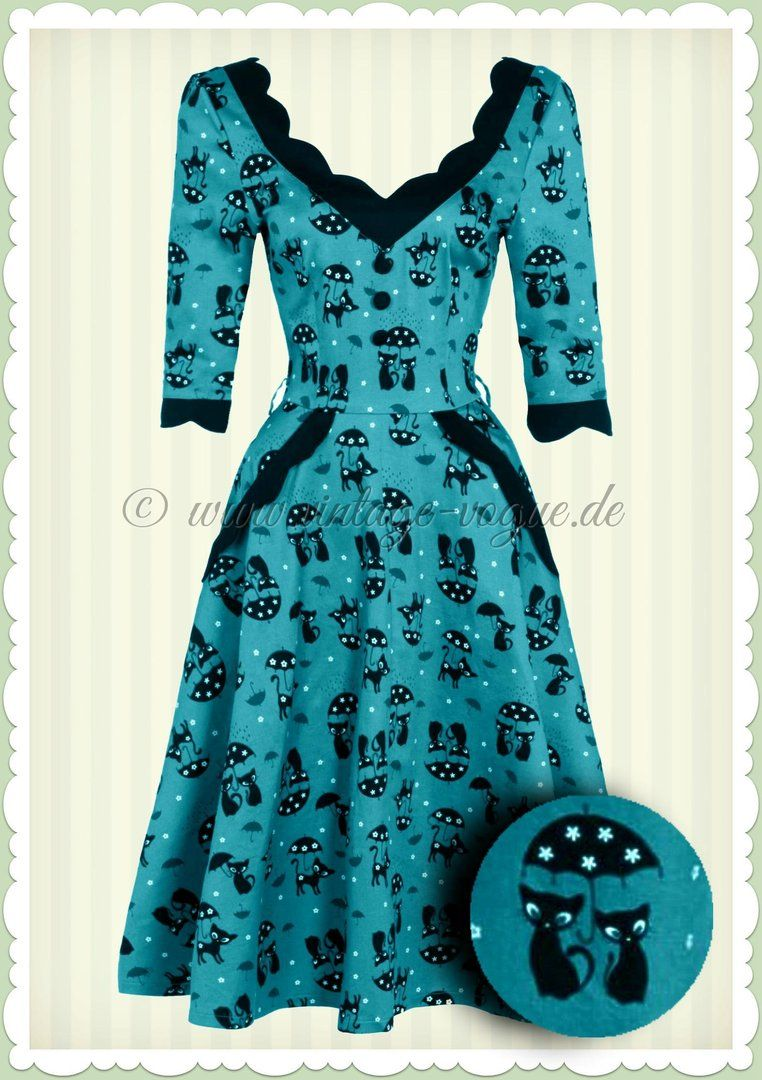 Voodoo Vixen 50er Jahre Vintage Rockabilly Katzen Kleid - Katnis ...