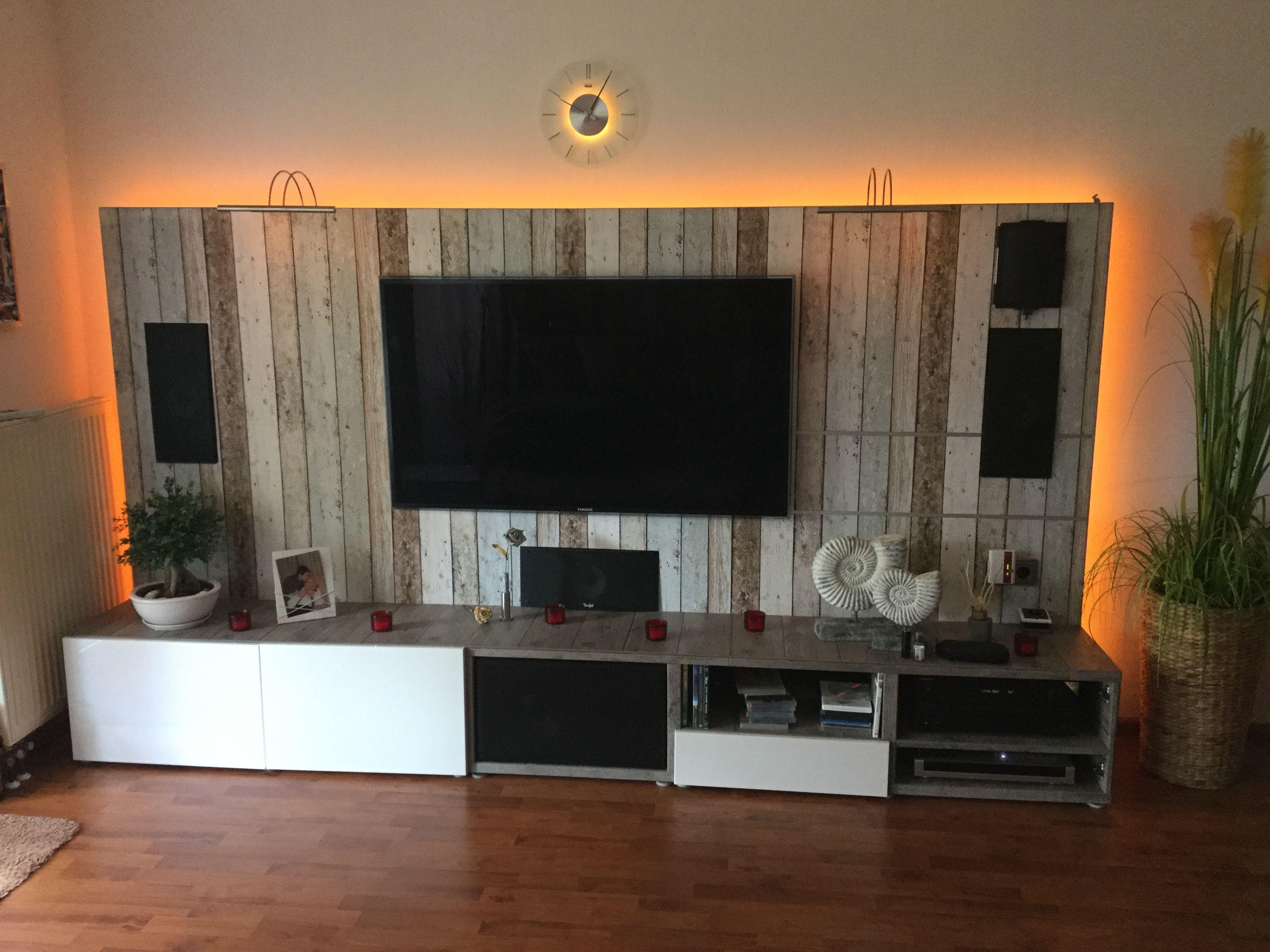Tv Und Hifi Wand Basis Ikea Unterschranke Holzplatte Als