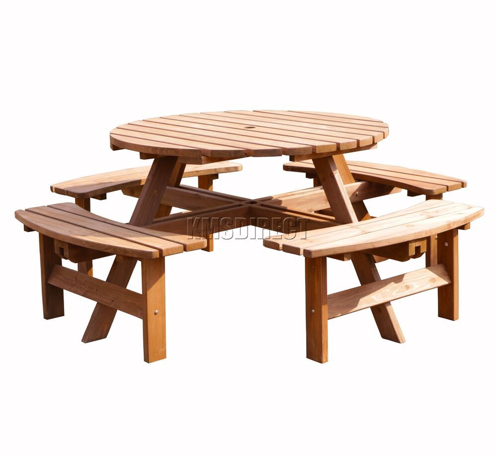 Birchtree 8 Seater Wooden Pub Bench Round Picnic Table Furniture Garden Patio Ebay In 2020 Wooden Garden Table Round Picnic Table Picnic Table