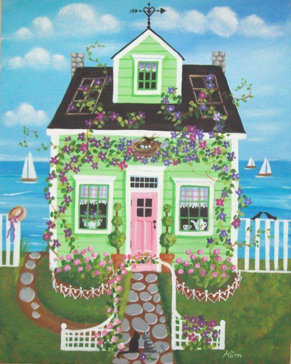 Clematis Cottage Folk Art Print by KimsCottageArt on Etsy, $12.95