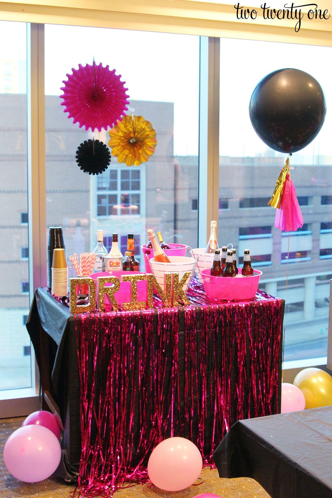 Bachelorette party bachelorette parties pink black and for Bachelorette party decoration ideas