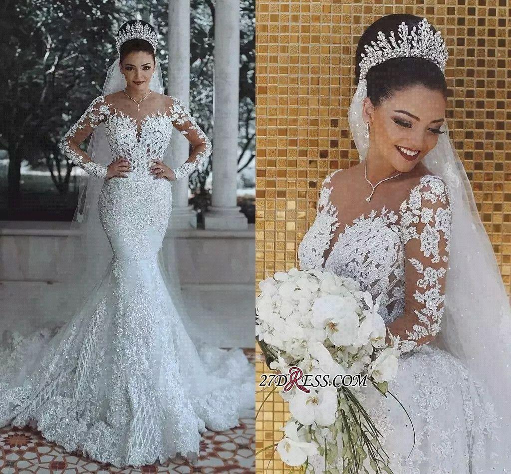 Glamorous Long Sleeve Lace Wedding Dress 2019 Mermaid Bridal Gowns O Long Sleeve Mermaid Wedding Dress Sheer Wedding Dress Mermaid Wedding Dress With Sleeves [ 950 x 1024 Pixel ]
