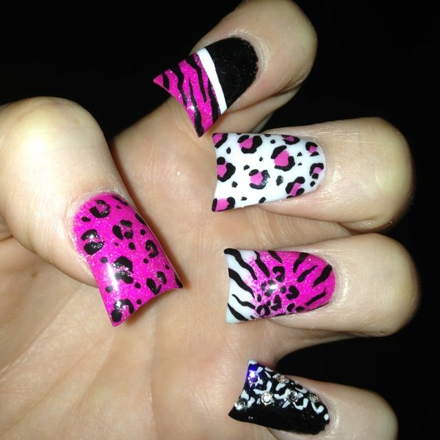 Crazy cheetah nails nail designs pinterest cheetah nails pink zebra and cheetah nails prinsesfo Image collections