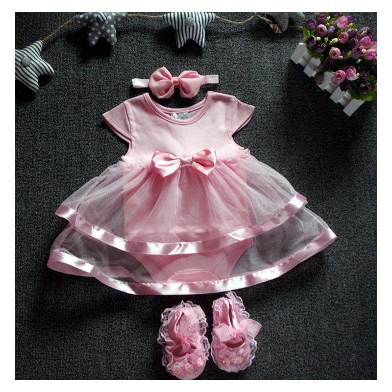 9ebc962f6 Barato 2016 Novo Do Bebê Do Algodão Bodysuit Vestido Ropa Bebe Roupas com  Headband Da Flor