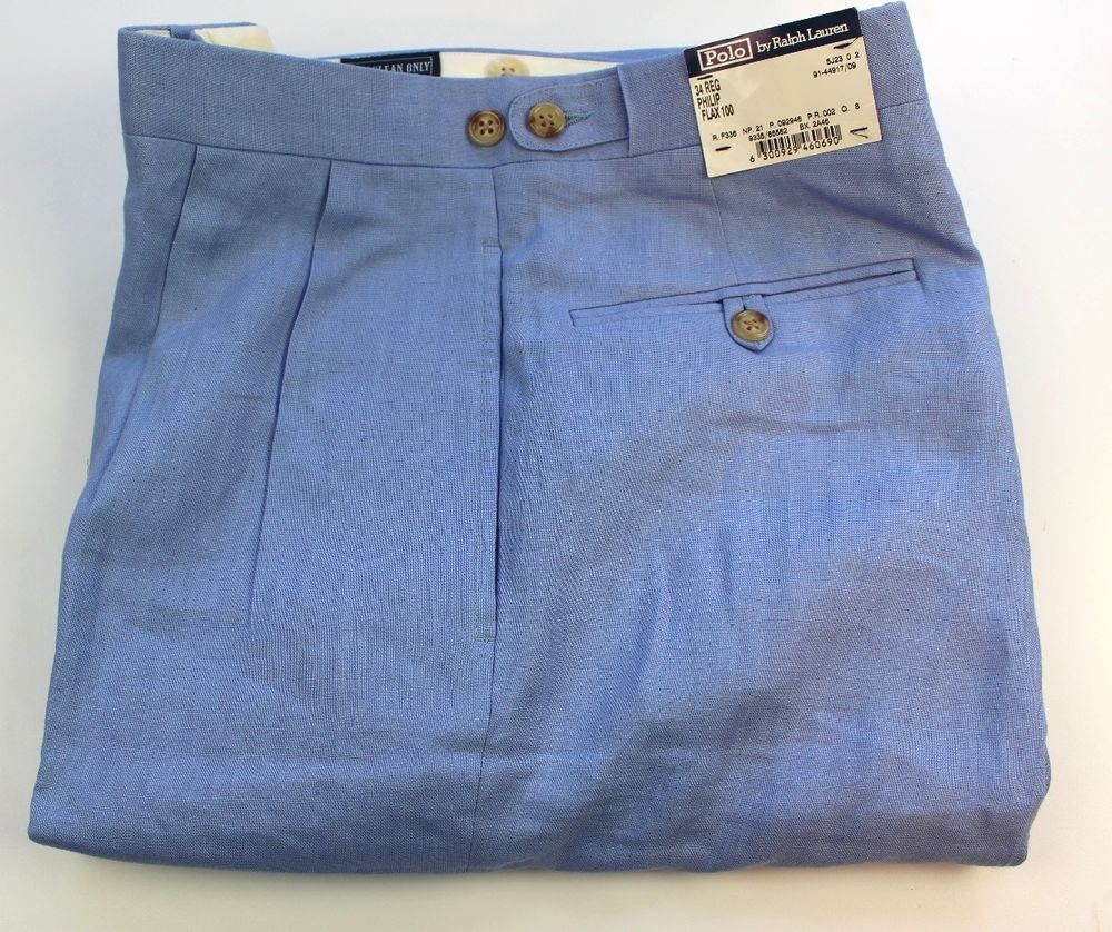 POLO RALPH LAUREN MEN'S LIGHT BLUE PLEATED LINEN PANTS-MADE IN ...