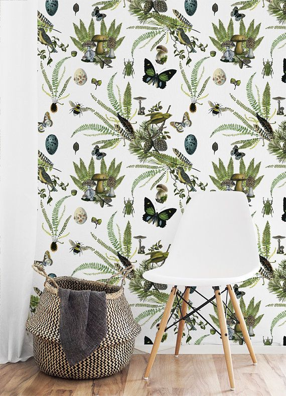 Naturalist White Removable Wallpaper Botanical Wallpaper