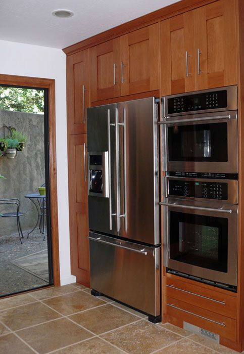 Pantry Refridgerator Wall Oven On One Wall | Wall Cabinet With Double Oven  And Fridge