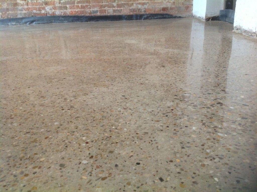 Interior Design Soft Brown Glossy Polished Concrete Floor Feat Black Gravel  Combine Motive Polished Finish For