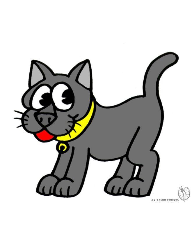 Disegno di gatto con collare a colori per bambini gratis for Maialino disegno per bambini