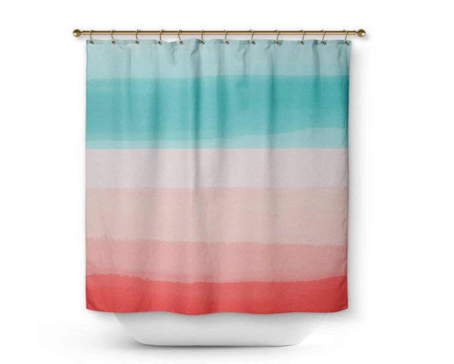 Shower Curtain Ombre Bath Curtain Coral Aqua Peach Home Etsy