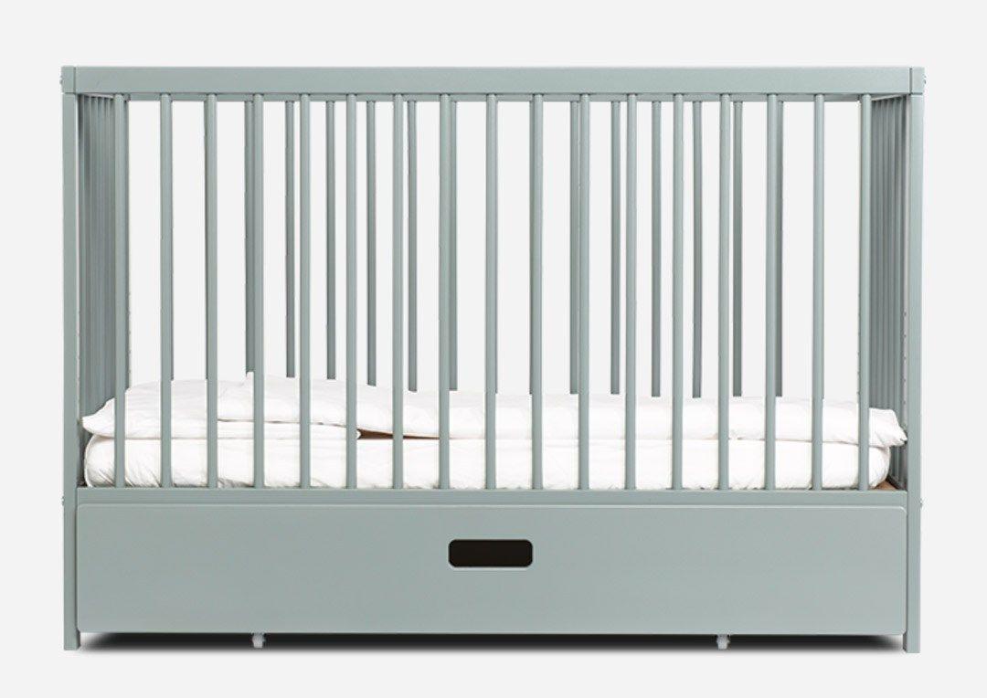 compact nursery furniture. Mokee Cot - Danish Compact Scandi Stone Teal Nursery Furniture A