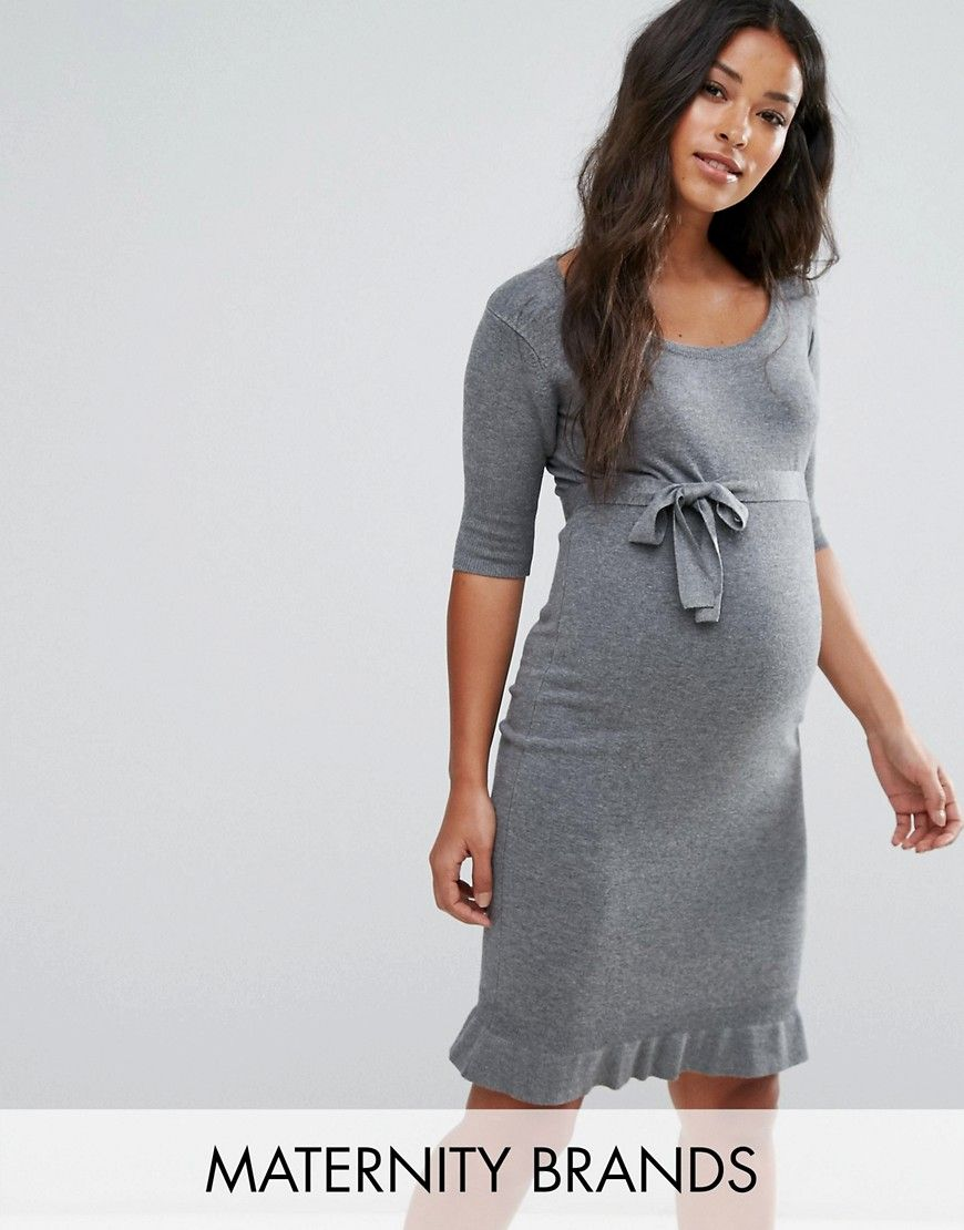 Discount Collections Mamalicious Knitted Frill Dress - Navy Mama Licious Browse Online Buy Cheap Amazing Price sakCEIvRG2