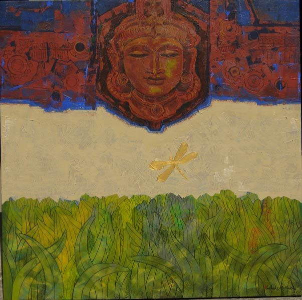 Dolna code: ASM002 Ankor Vat II by Ashoke Mullick. Acrylic on canvas, 36 x 36 (inches), Price INR 2,25,000  Browse www.dolna.in to buy awesome original art.