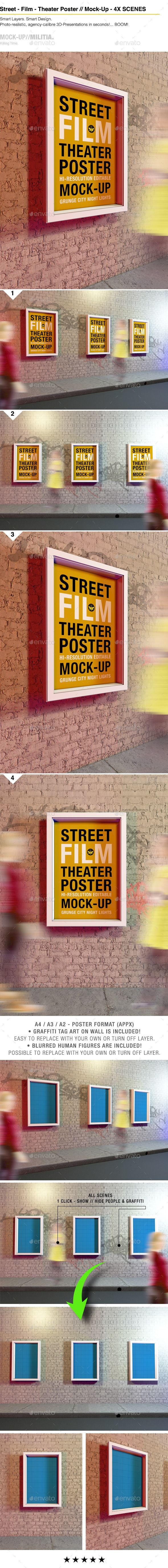 Theatre Theater Film Outdoor Poster Mock Up Poster Mockup Theatre Poster Business Card Mock Up