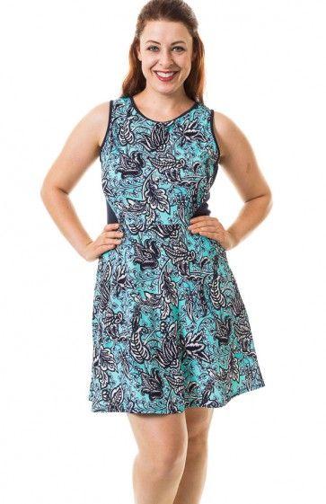 Round neck sleeveless leaf print textured skater dress featuring ...