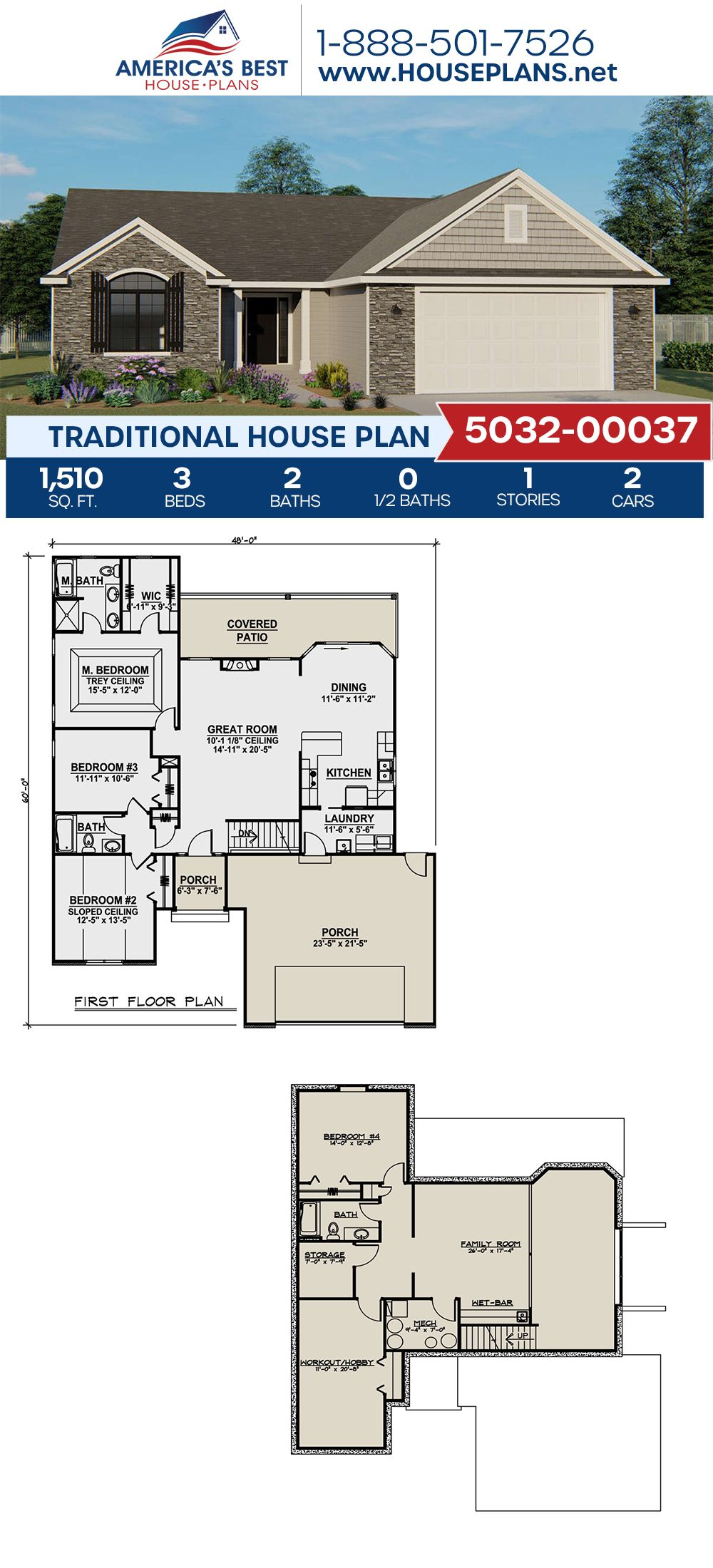 House Plan 5032 00037 Traditional Plan 1 510 Square Feet 3 Bedrooms 2 Bathrooms In 2020 House Plans Traditional House Plans Dream House Plans