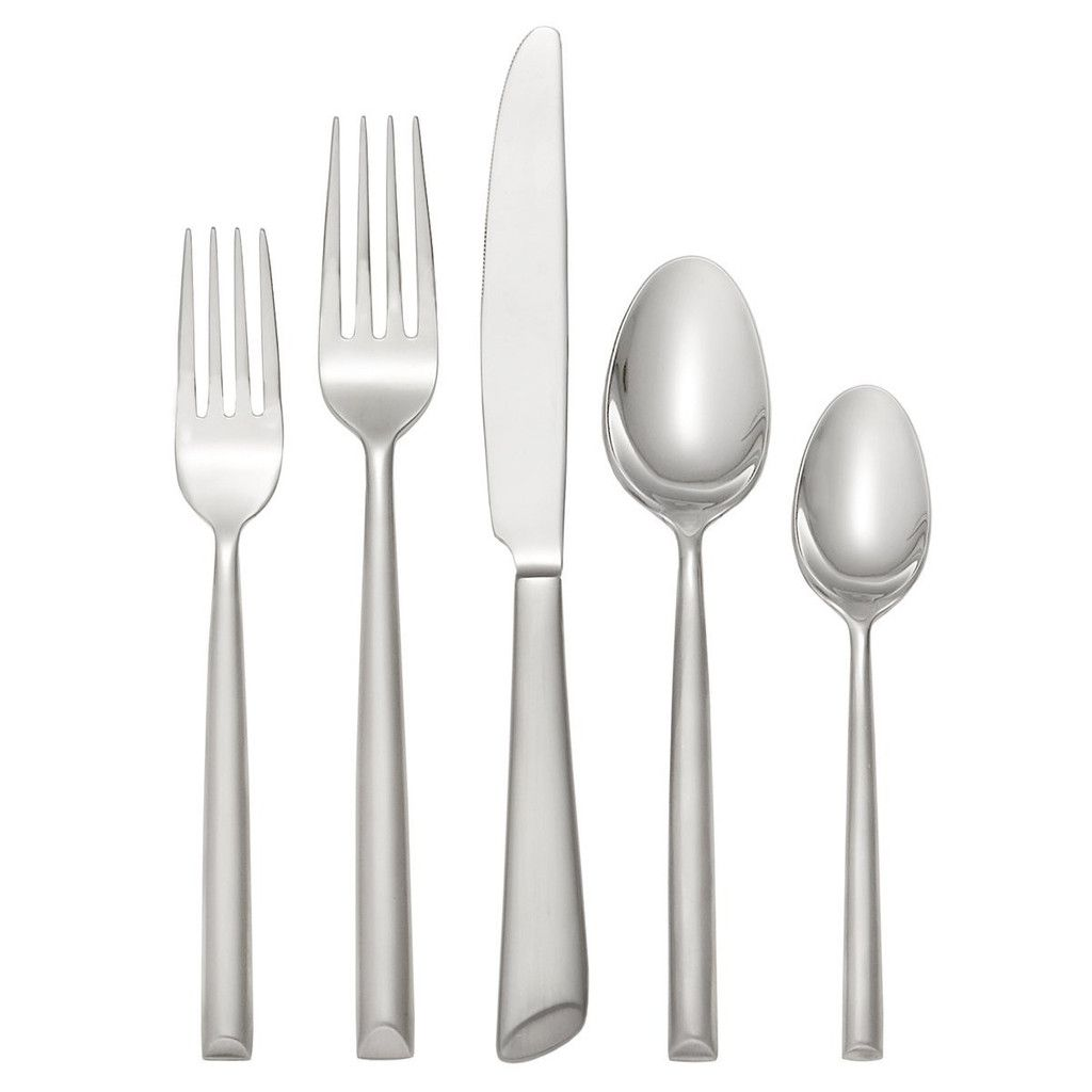 Contemporary Stainless Steel Flatware Oneida Satin Urbana 18 10 5 Piece Flatware Set For 1