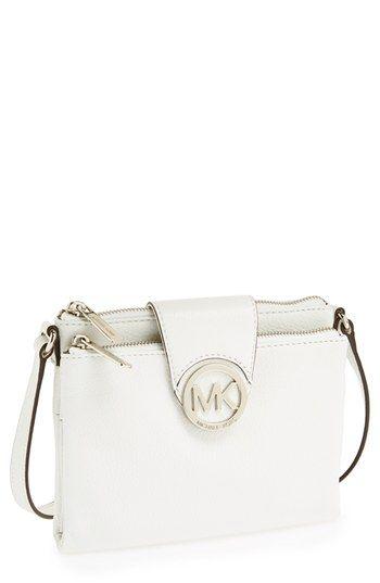 1322846b2fa4 $188, White Leather Crossbody Bag: MICHAEL Michael Kors Michl Michl Kors  Fulton Large Crossbody