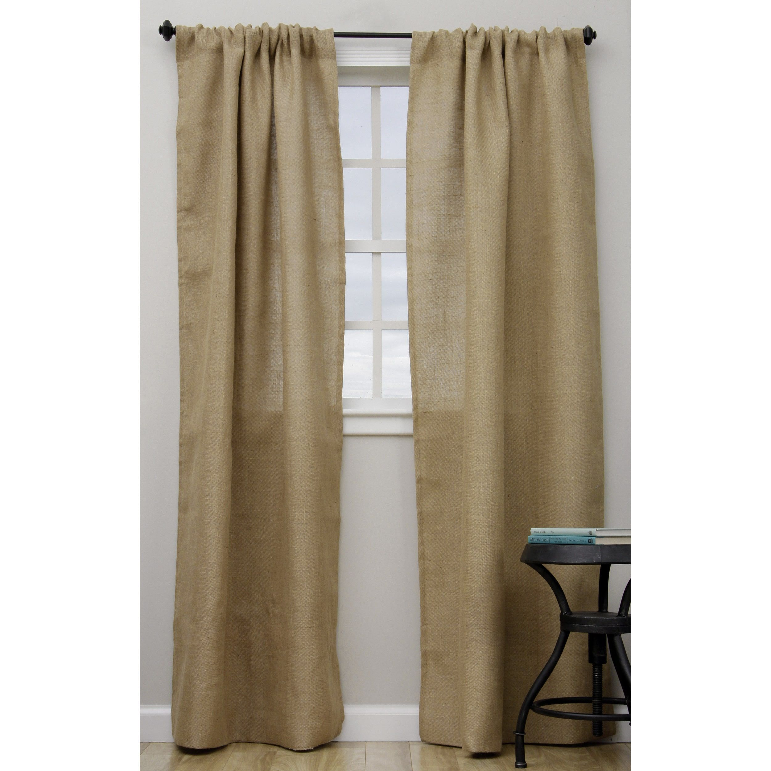 Open Weave Burlap Unlined Curtain Panel Natural 42 X 84 84 Inches Saro Lifestyle Jute Solid Panel Curtains 96 Inch Curtains Drapes Curtains