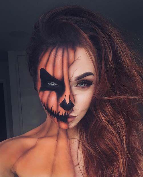 Creepy Half Pumpkin Makeup Look for Halloween