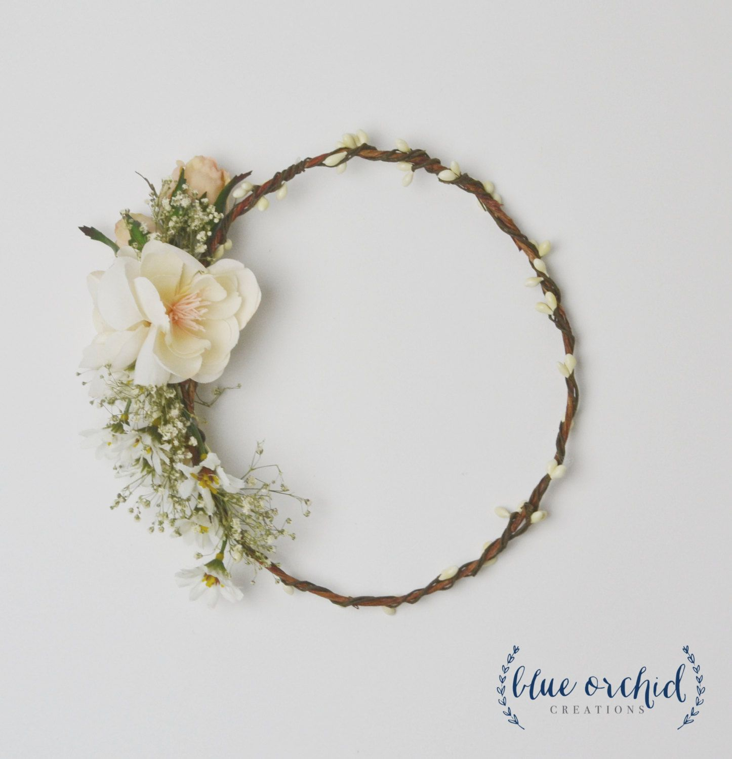 Flower Crown - Cream, Ivory, Baby\'s Breath Flower Crown, White ...