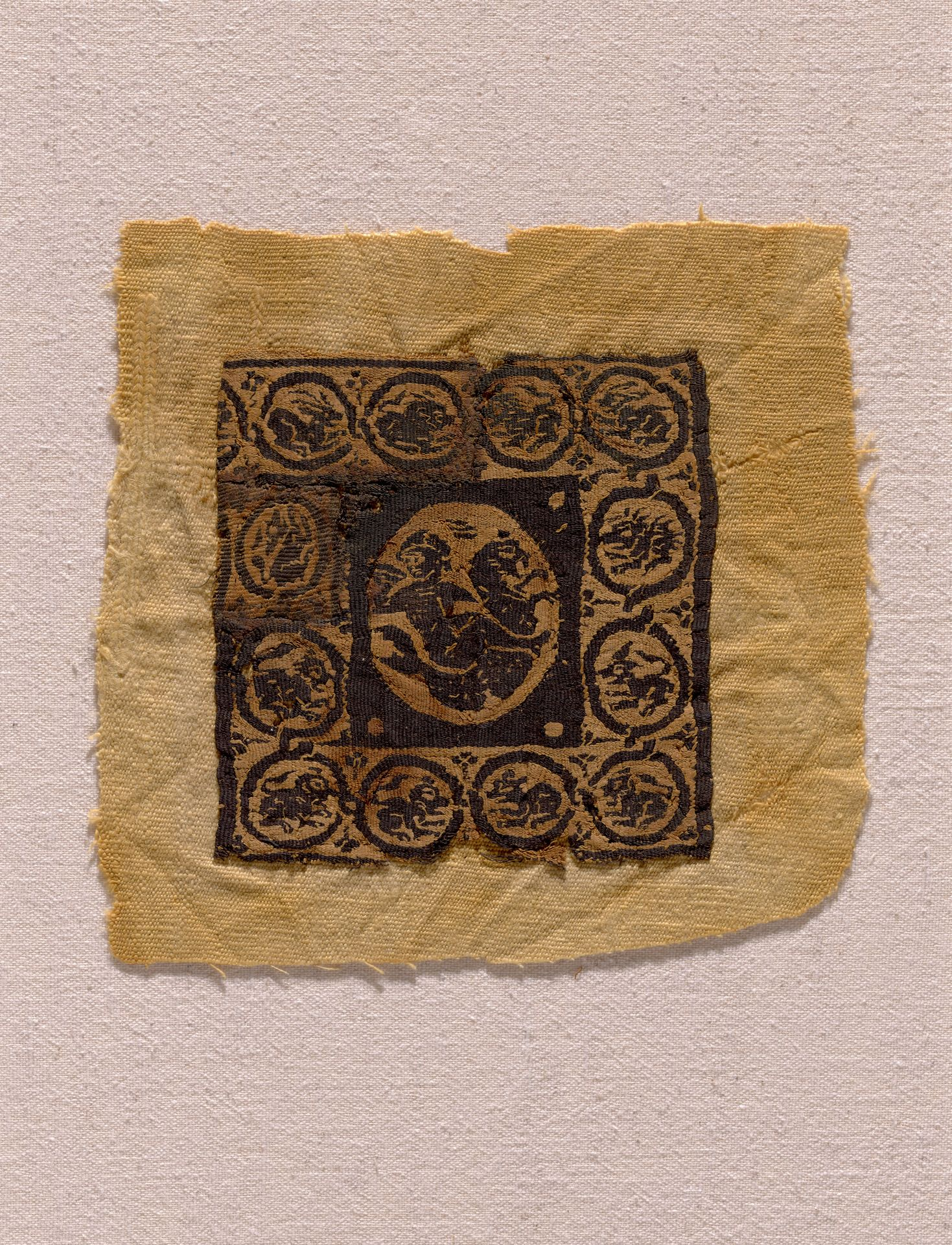 Coptic textile, Egyptian, ca. 4th Century A.D. Unknown fabric, 20.2 x 21.5 cm (7 15/16 x 8 7/16 in.). Gift of the Olsen Foundation. Photo credit: Yale University Art Gallery