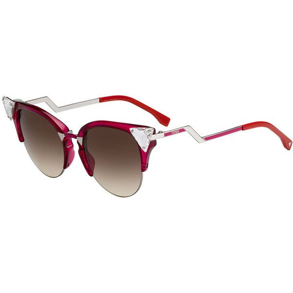 Fendi Iridia Cat-Eye Crystal-Tip Sunglasses (7.855 ARS) ❤ liked on Polyvore featuring accessories, eyewear, sunglasses, red, red sunglasses, mirrored lens sunglasses, mirrored cat eye sunglasses, square sunglasses and red cat eye glasses
