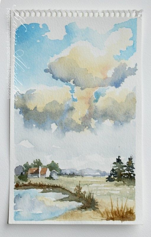 Peppermint Patty's Papercraft: Sunday Watercolors; Clouds, Tuscany and Dreams of a Lottery Win
