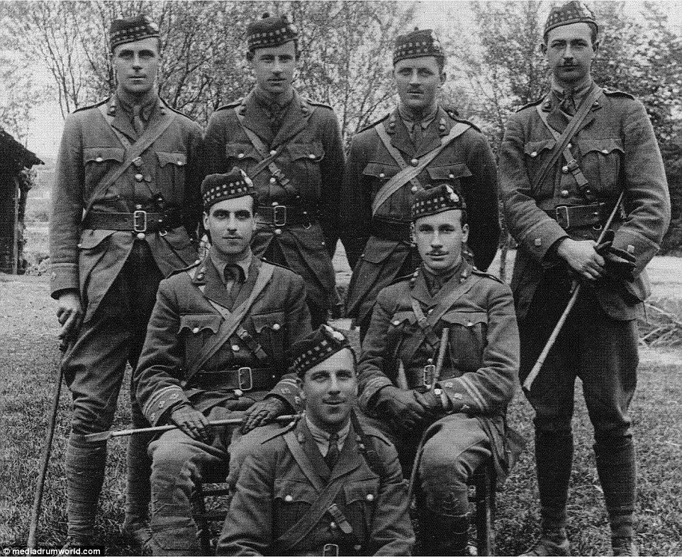 Ready for battle: A group of Churchill's fellow soldiers in France, 1916. Major Dewar Gibb...
