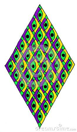 Hand drawn vertical diamond shape filled with repeating vertical