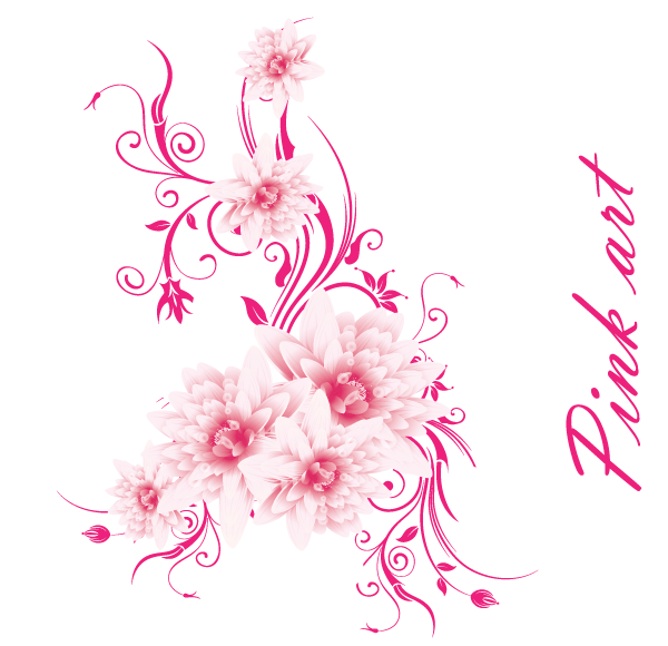 Free Vector Art Lovely Pink Flowers Flowers Vector Free