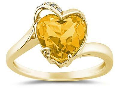 applesofgold Heart Shaped Citrine and Diamond Ring 14K