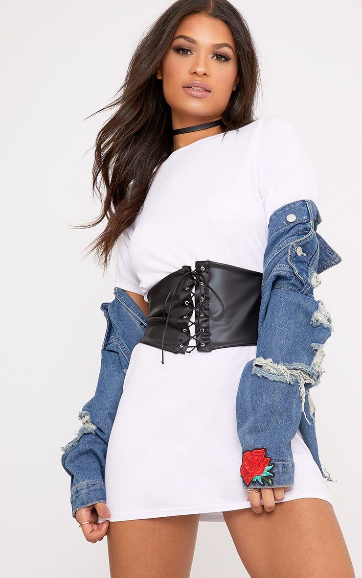5cc80e8a0121 Reanna White Corset T Shirt Dress | Fashion | Corset shirt, White ...