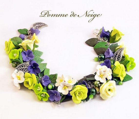 Floral cha cha charm bracelet Polymer clay jewelry by PommeDeNeige