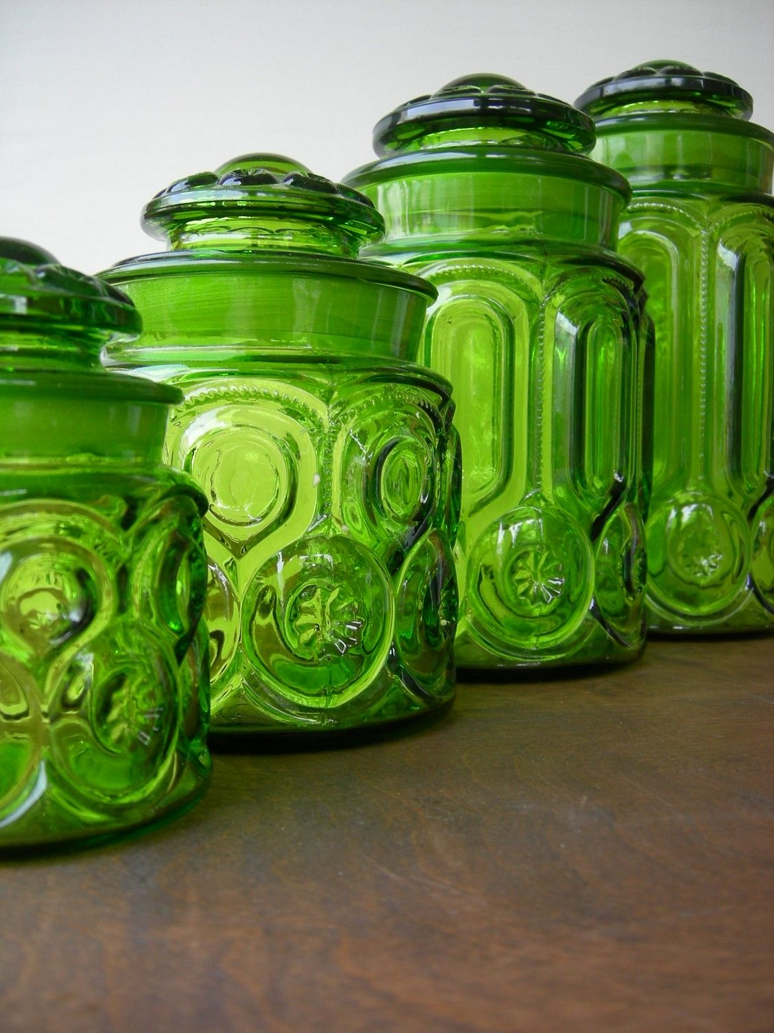 Lime Green Kitchen Canisters Vintage Green Glass Moon And Stars Canister Set Vintage Mom And
