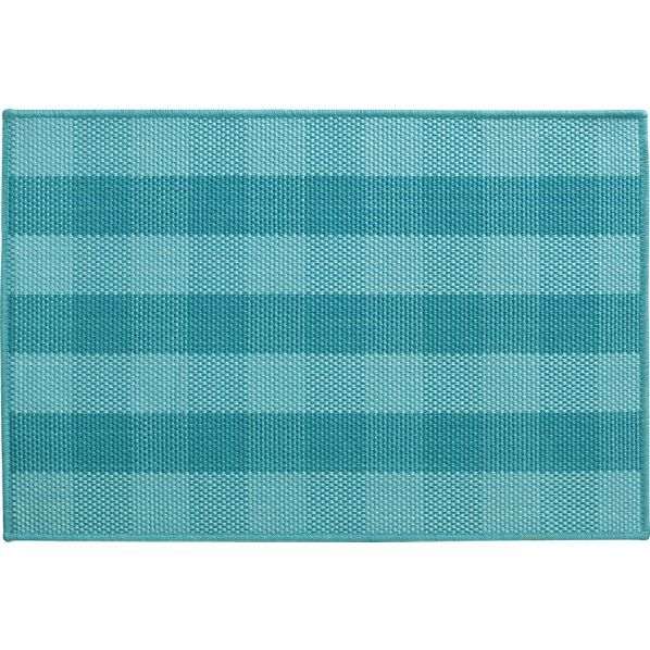 back door?Jute Turquoise Check Rug in Area Rugs | Crate and Barrel